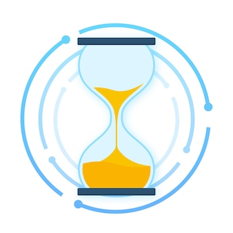 Hourglass collection. hourglass timer sand as countdown. vector stock illustration