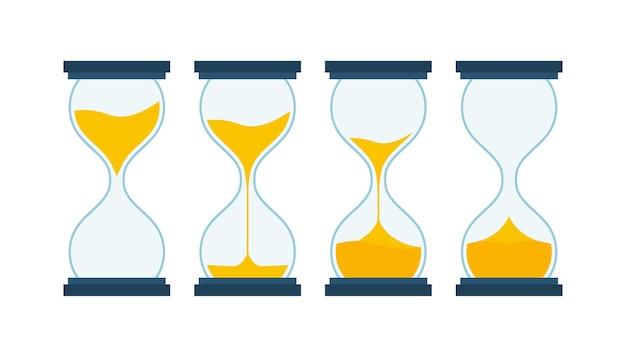 Коллекция песочных часов. песочные часы таймер песок как обратный отсчет. векторная иллюстрация штока.