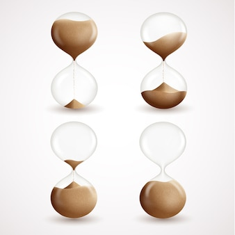 Hourglass decorative icons set