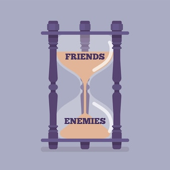 Hourglass device measures the passage of friends into enemies. instrument, metaphor showing change of liking, trust to hostile, unfriendly, opposing relationship between people. vector illustration
