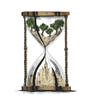 Hourglass ecology concept city landscape environmental pollution and environment protection