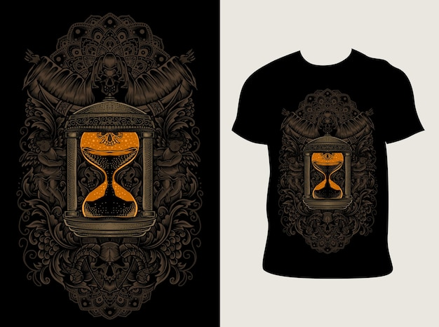 Tシャツのデザインと砂時計の彫刻飾りスタイル