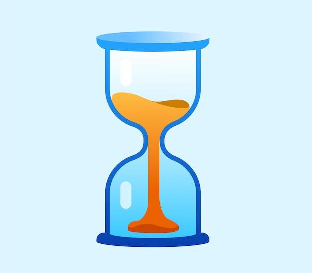砂時計フラットベクトルイラスト。タイムラインの概念