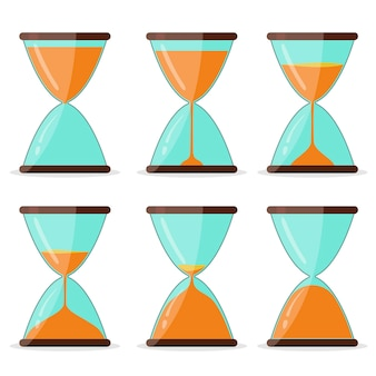 Hourglass frame set, pictures for animation, timer clock glass. transparent sandglass, sandclock antique instrument flat design. vector