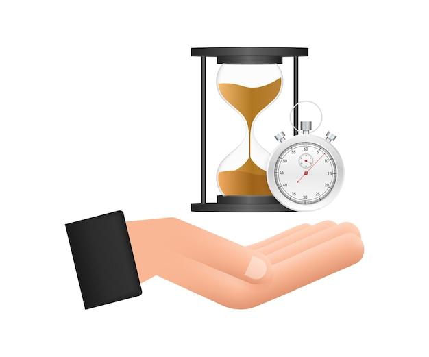 砂時計と砂時計を持っている砂時計の手非常に詳細