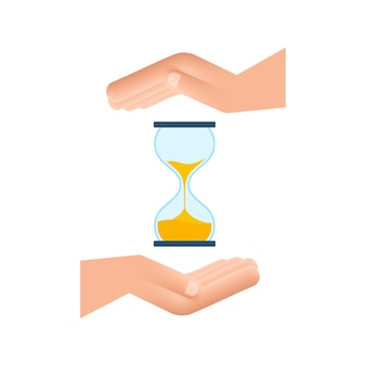 Hourglass in hands. hourglass timer sand as countdown. vector stock illustration.