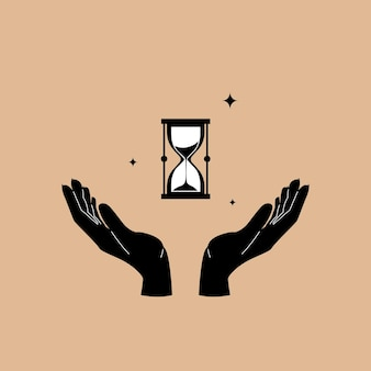 Hourglass in hands in trendy style