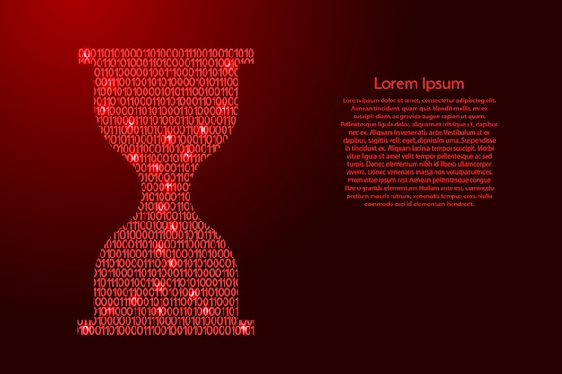 Hourglass icon abstract schematic from red ones and zeros binary digital code