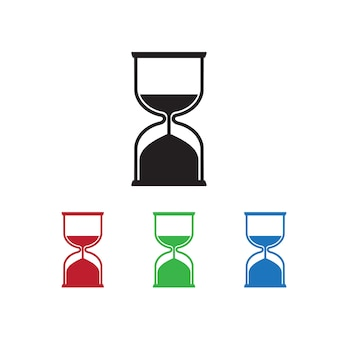 Hourglass icon on white background with different color set.