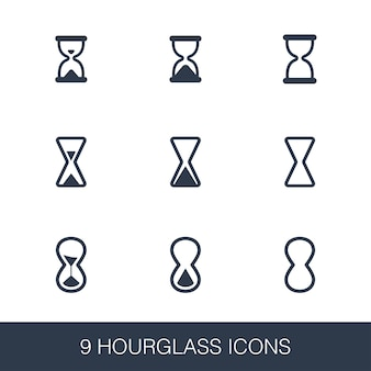 Hourglass icons set. simple design glyph signs. hourglass symbol template. universal style icon, can be used for web and mobile ui
