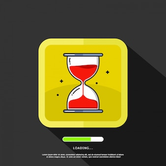 Hourglass illustration element with loading text template