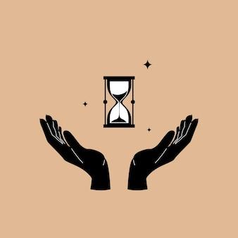Песочные часы в руках в модном стиле