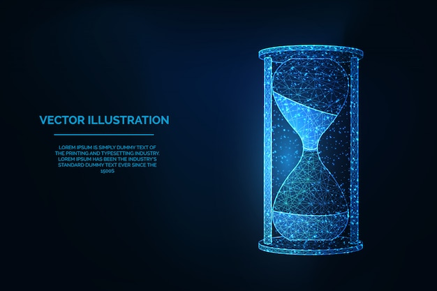 砂時計低多角形ワイヤーフレームイラスト