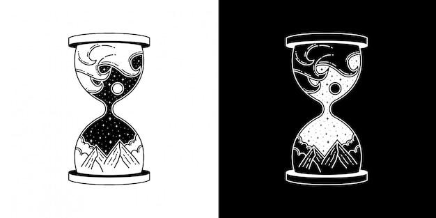 모래 시계 산과 파도 모노 라인 디자인