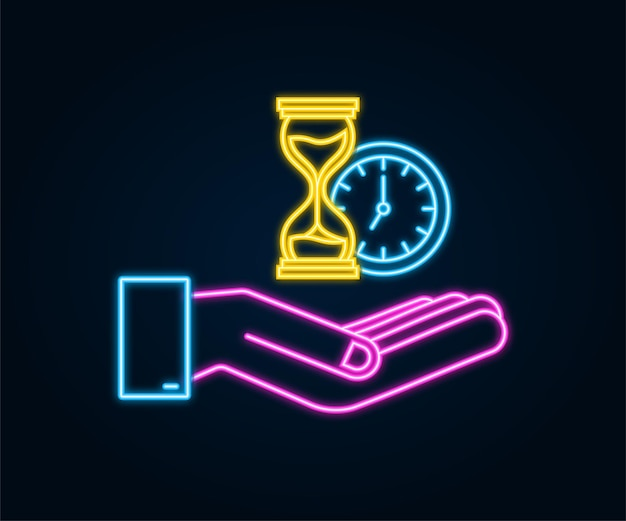 Hourglass neon icon hands holding hougglass and sandglass highly detailed