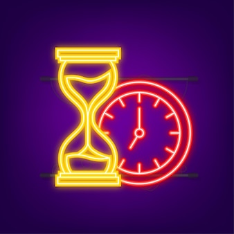 Hourglass. neon icon. highly detailed. antique clock with sand inside. vector illustration.