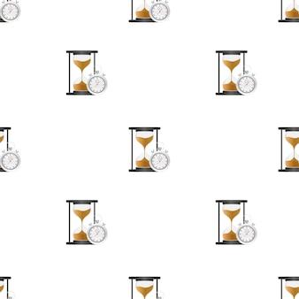 砂時計のパターン。非常に詳細。砂が入ったアンティーク時計。ベクトルイラスト。