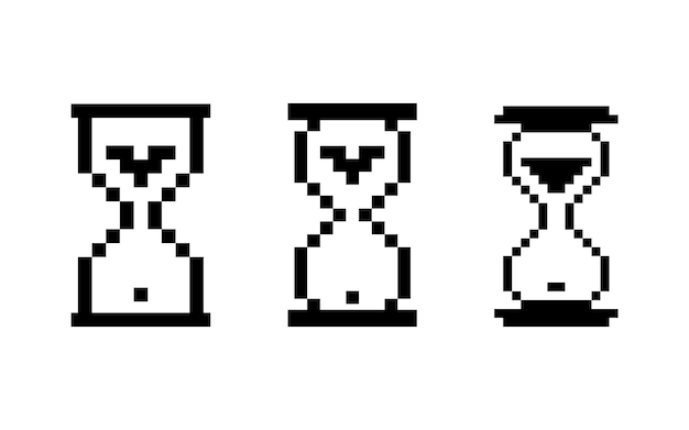 Hourglass pixelated icon on white background