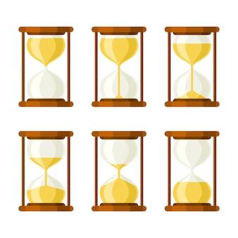 Hourglass retro vector icons set