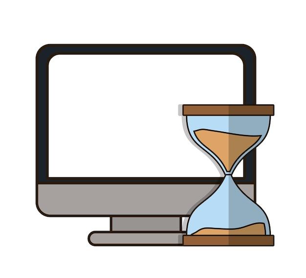 Hourglass or sandglass and computer icon