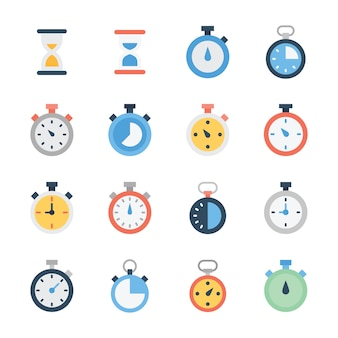 Hourglass and stopwatch flat vectors pack