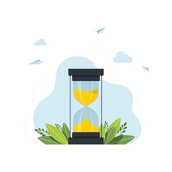 砂時計。時間の概念時間管理の現代のフラットなwebページのデザインの概念。フラットランディングページテンプレート。ベクター。ベクトルイラスト