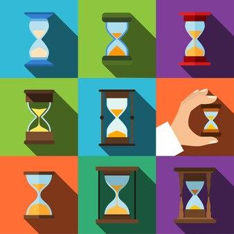 Песочные часы векторные плоские иконки. простой набор иллюстраций из 9 элементов песочных часов, редактируемых значков, которые можно использовать в логотипе, пользовательском интерфейсе и веб-дизайне.