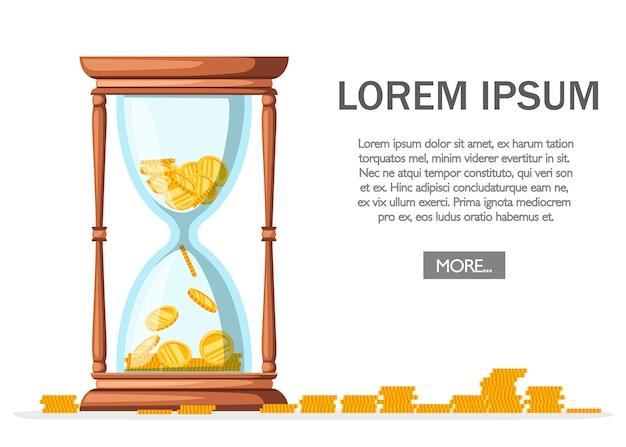 コイン付き砂時計。タイマーサンドの定番。木製の素材。お金を節約、銀行。白い背景のイラスト。 webサイトページとモバイルアプリ