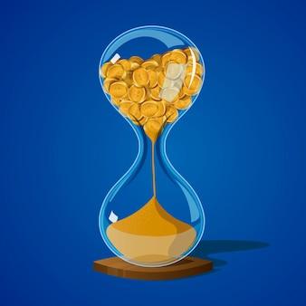 Песочные часы с монетами. время - деньги. значок. игра. вектор иллюстрации