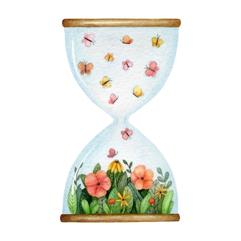 Hourglass with flower glade and butterflies inside. watercolor illustration.