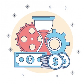 Hourglass with gears and money