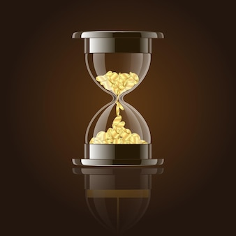 Hourglass with gold coins over dark background. vector illustration