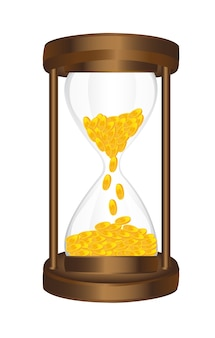 Hourglass with gold coins isolated