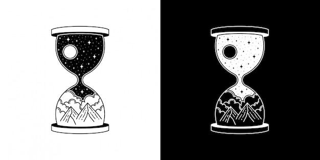 마운틴 모노 라인 디자인의 모래 시계