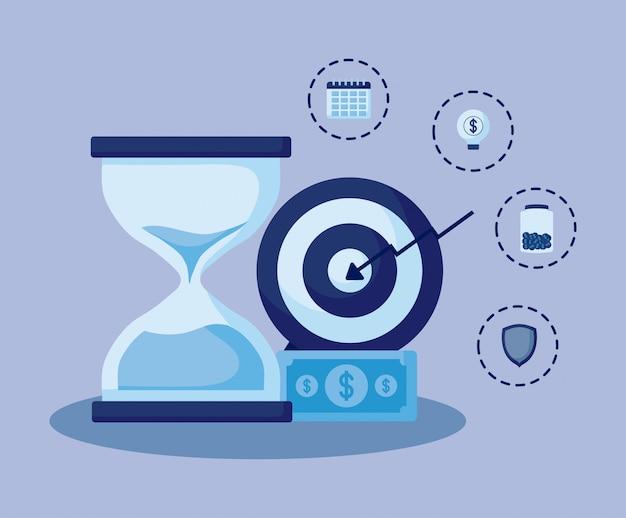 Hourglass with set icons economy finance