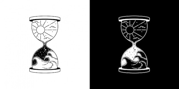 Hourglass with wave monoline design