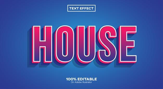 하우스 3d 편집 가능한 텍스트 효과