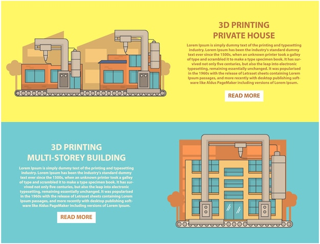House 3d printing concept horizontal banner set