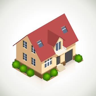 Icona di vettore 3d casa con cespugli verdi. casa di architettura, struttura e finestra