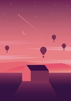 집과 풍선 공기 뜨거운 여행 풍경 장면 벡터 일러스트 디자인