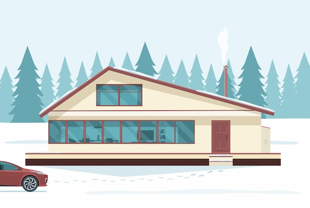 집과 겨울 눈 덮인 숲 풍경의 배경에 자동차. 평면 그림.