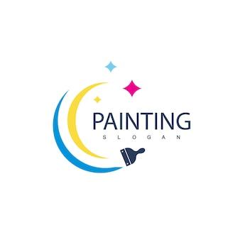家と車の絵画のロゴ