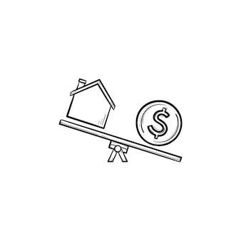 시소 손으로 그린 개요 낙서 아이콘에 집과 달러. 부동산, 비용, 금융, 돈, 재산 개념