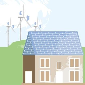家とエネルギーの風車