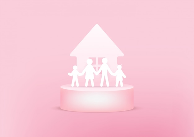 집과 가족 종이 3d. 행복한 가족 개념.