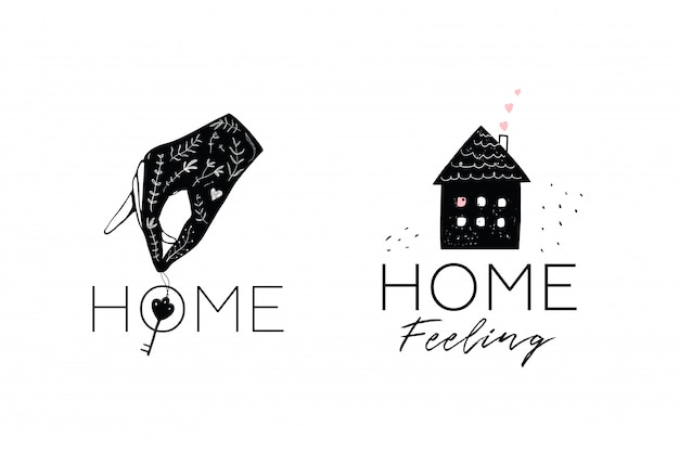 家と鍵のロゴタイプのデザインを持っている手。ミニマルなシンボルロゴタイプの不動産ロゴデザイン。