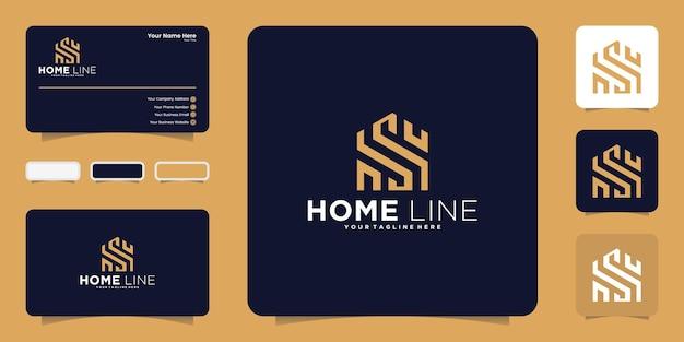 라인 아트 스타일 로고 디자인, 기호 및 명함이 있는 집 및 이니셜 문자 s
