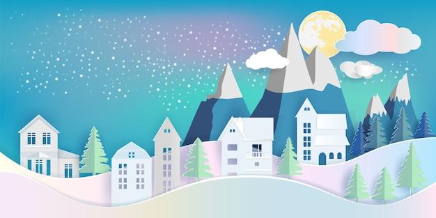 黄色の月と雲の下で冬の夜に山と家と松林。ペーパーアートd