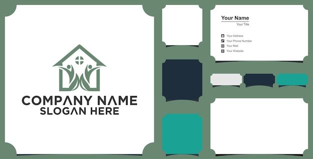 Дом и дерево дизайн логотипа вектор и визитная карточка