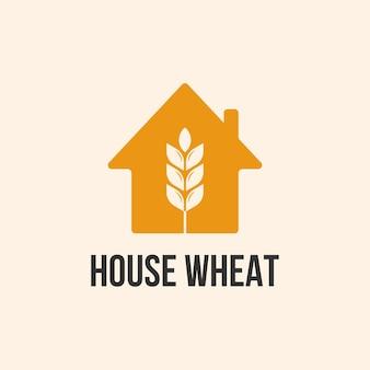 Шаблон дизайна логотипа дома и пшеницы
